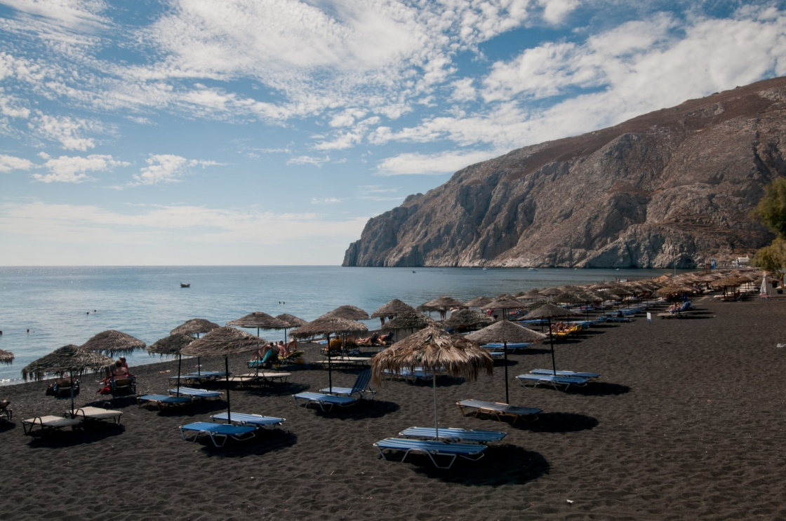 Black beach of Kamari, Santorini, Greece